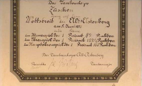 Älteste noch vorhandene Urkunde vom Wettstreit 1933 in Altastenberg